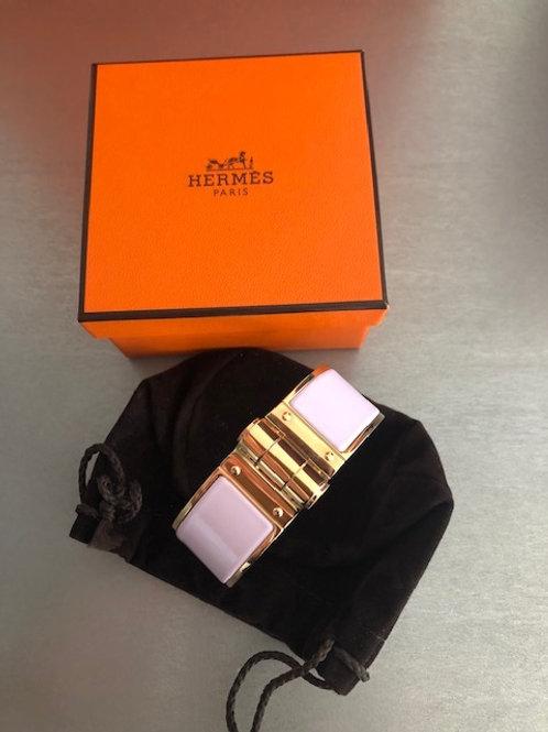 Armband Hermés Charniere rose dragée email