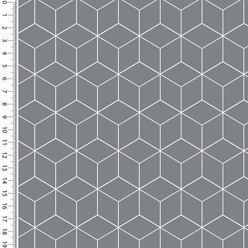 Baumwolle Popeline Cube dunkelgrau 0,5m