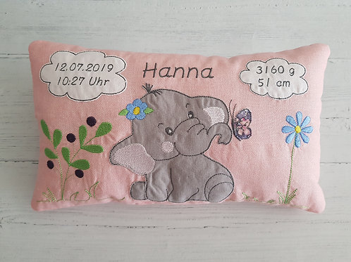 Kissen mit Geburtsdaten Elefant rosa
