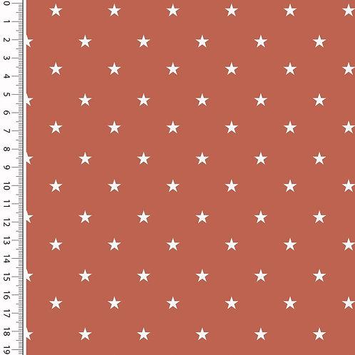 Baumwolle Popeline Sterne rost 0,5m