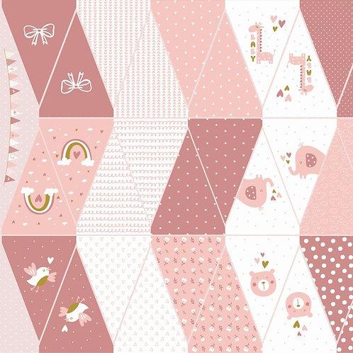 Baumwoll Panel Girlande rosa