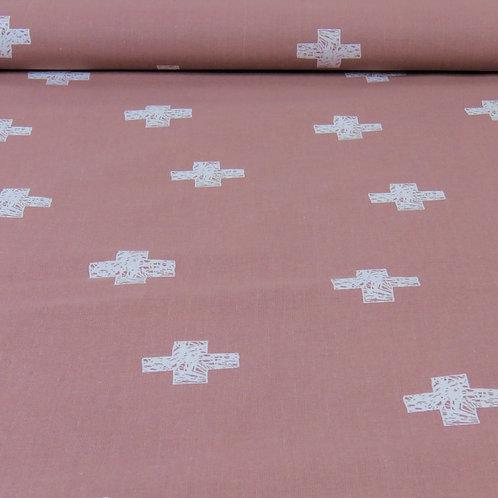 Baumwolle Kreuze auf rosa 0,5m