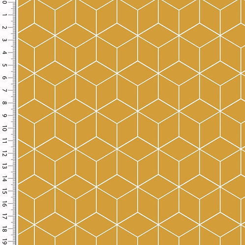 Baumwolle Popeline Cube senfgelb 0,5m