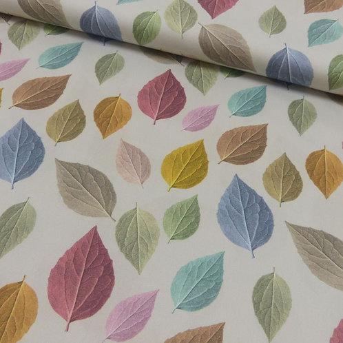 Baumwoll Satin bunte Blätter 0,5m