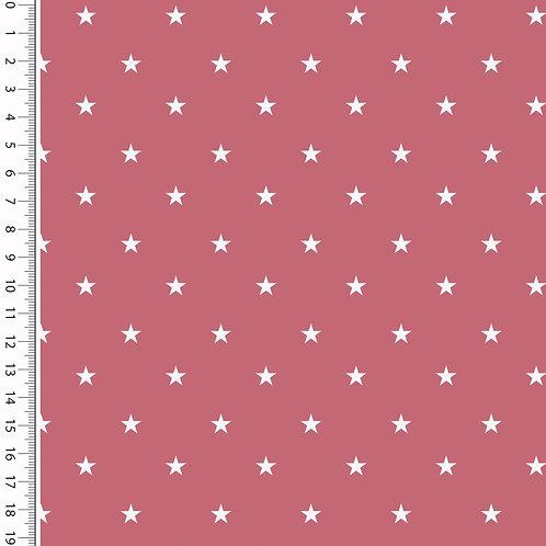 Baumwolle Popeline Sterne bordeaux/pink 0,5m