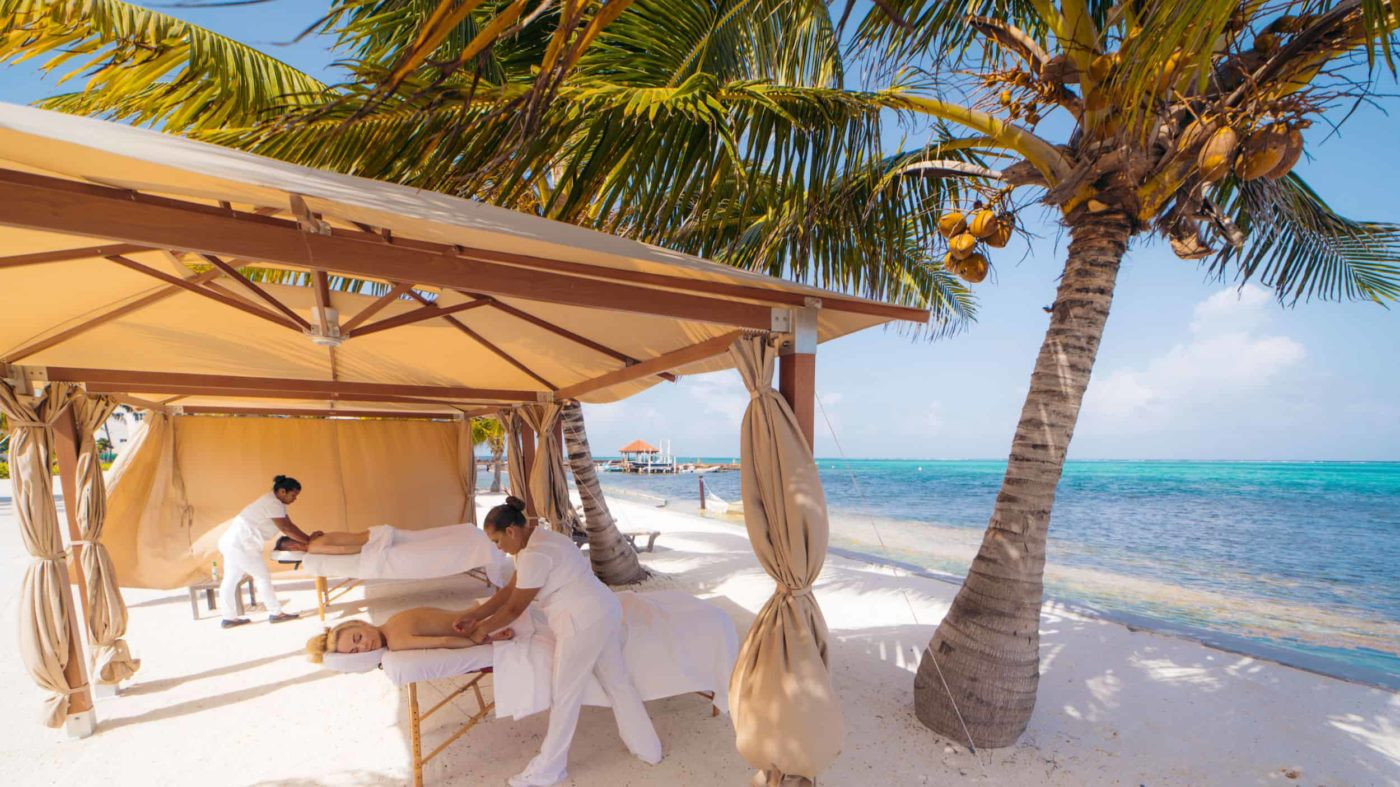 Enjoy spa services on the beach.
