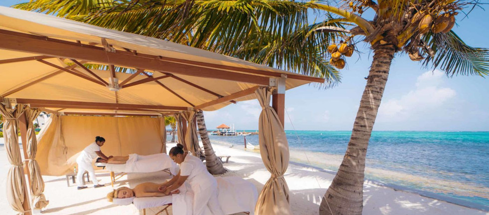 Enjoy spa services on the beach.