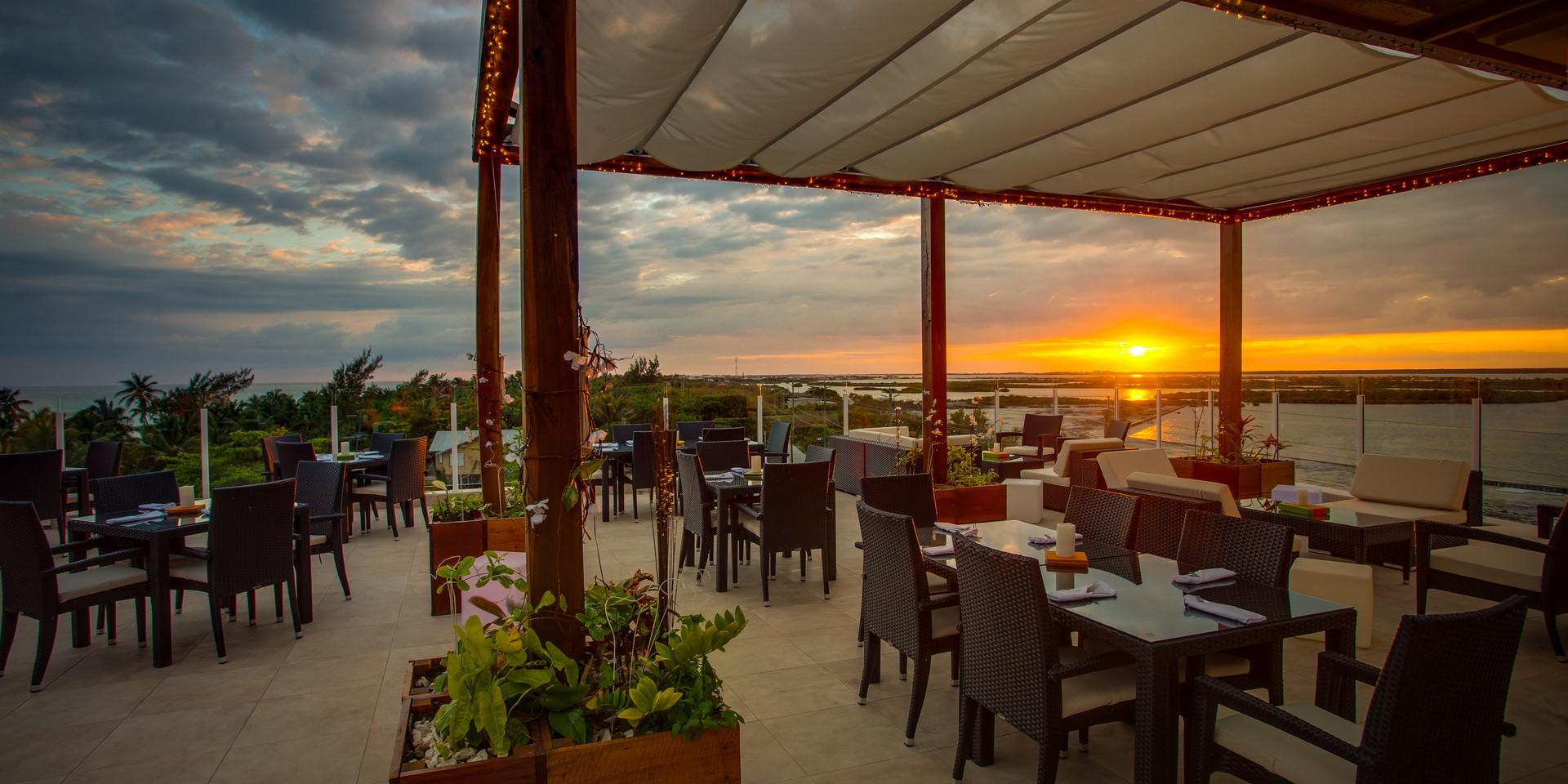 Sunset at RAIN restaurant.