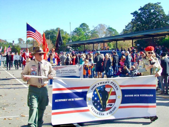 The Southern Pines Veterans Parade Banner