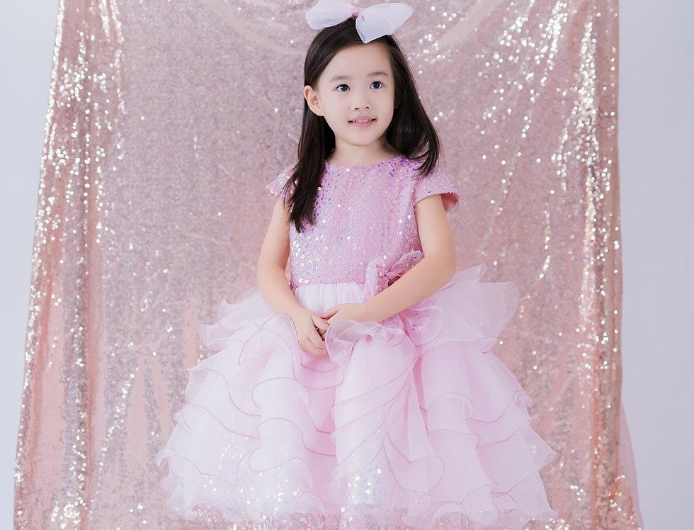 ชุดราตรีเด็ก สีชมพู H17 Pink