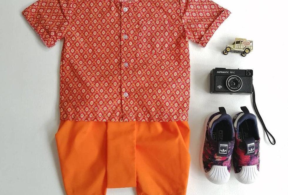 ชุดไทยเด็กชาย Nara-orange set