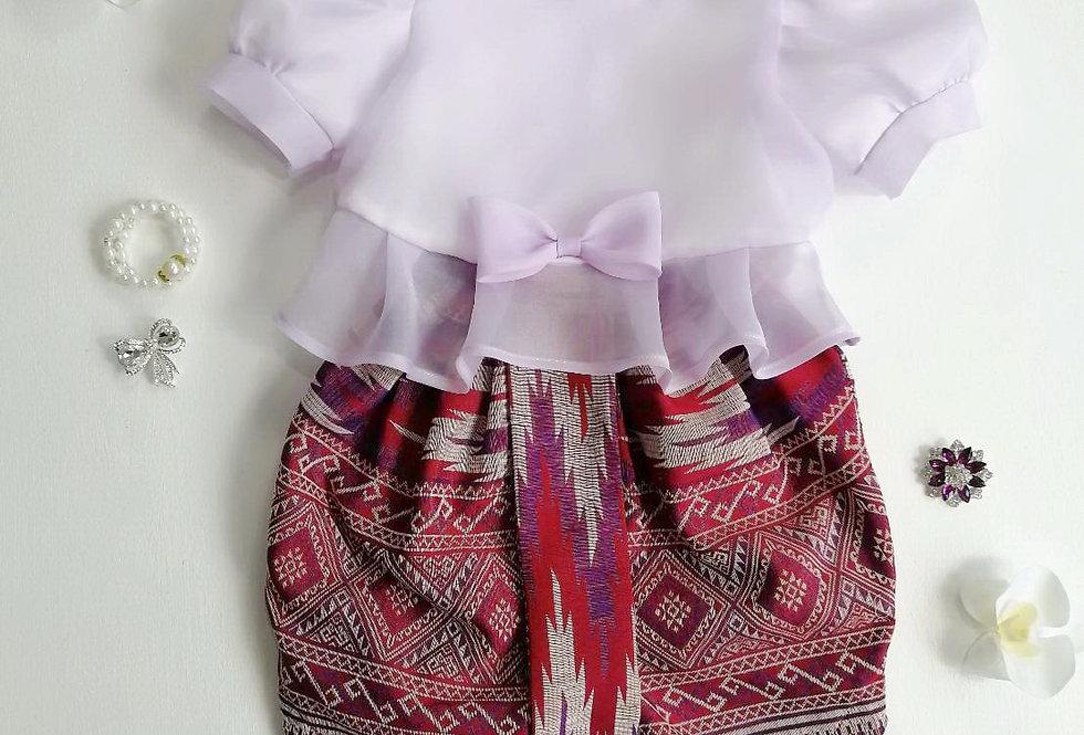 ชุดไทยเด็ก Metta- lilac/pattern1