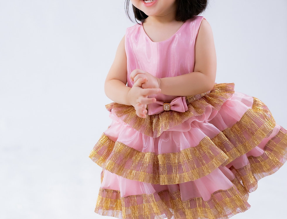 ชุดราตรีเด็ก สีชมพู H15 pink