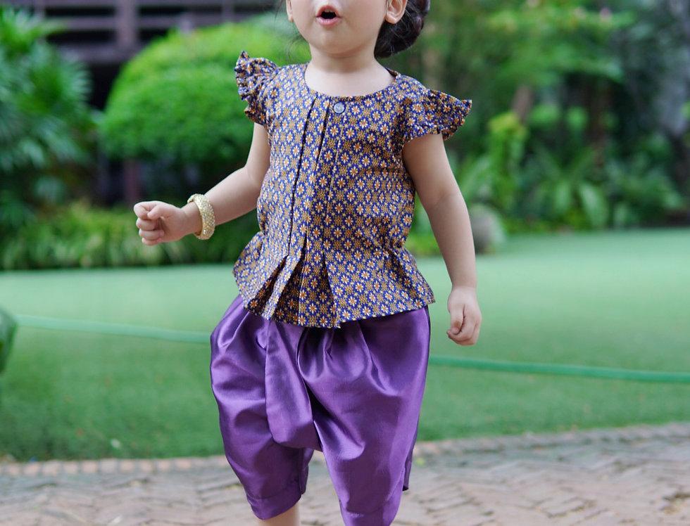 ชุดไทยเด็กหญิง J5 -  Dark Blue/Purple