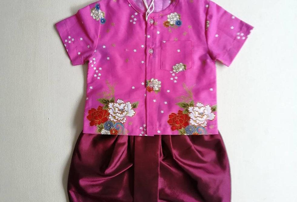 ชุดไทยเด็กชาย SET11-Dark pink