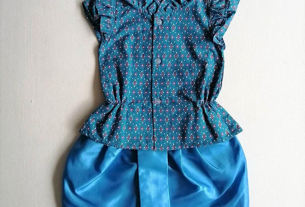 ชุดไทยเด็กหญิง SET13 - Blue