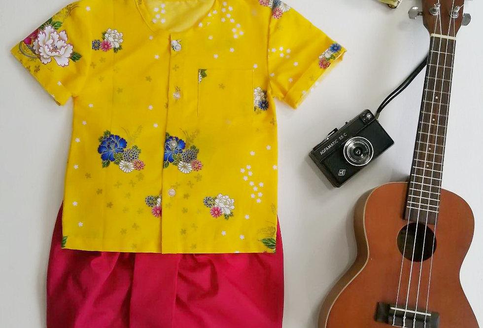 ชุดไทยเด็ก Pate2-Yellow/DarkPink