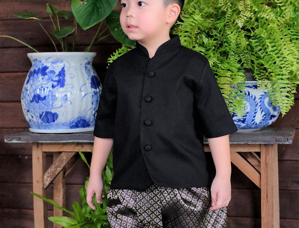 ชุดไทยเด็กชาย รุ่นTK- Black-purple