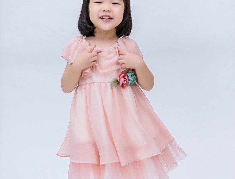 ชุดราตรีเด็ก E2115- peach