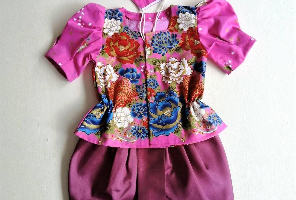ชุดไทยเด็กหญิง SET11 - Dark Pink