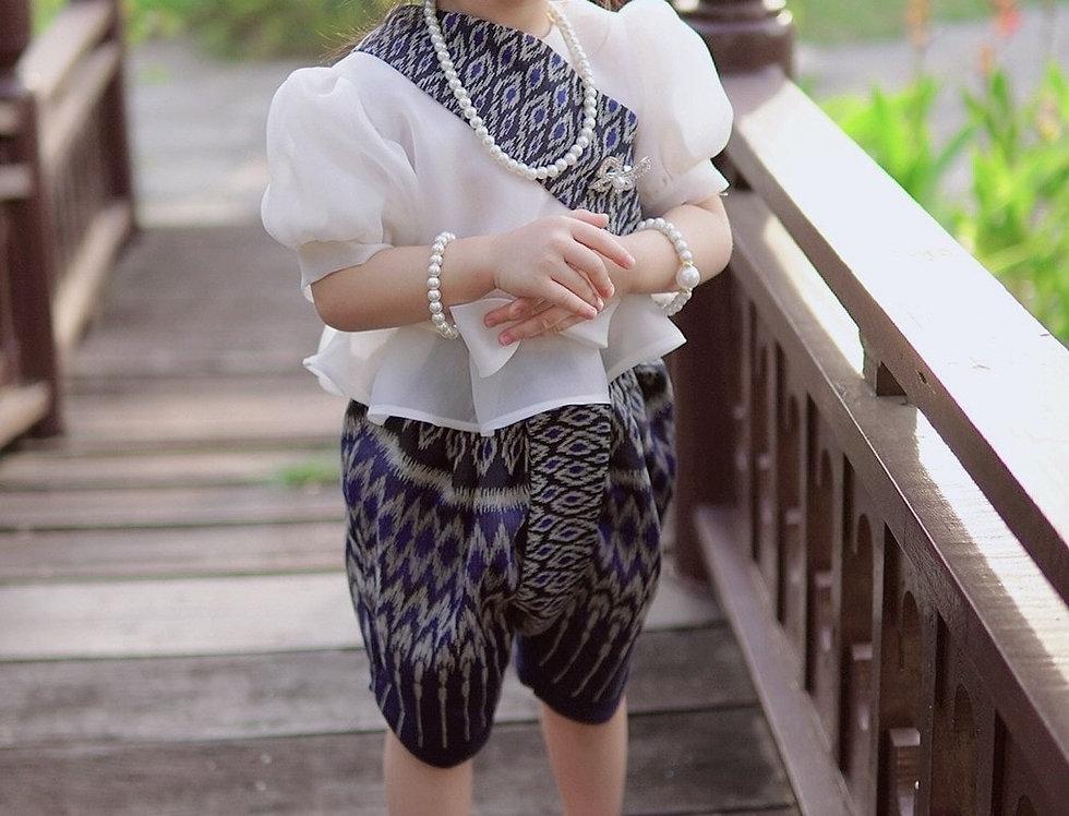 ชุดไทยเด็ก set Metta-white/navy