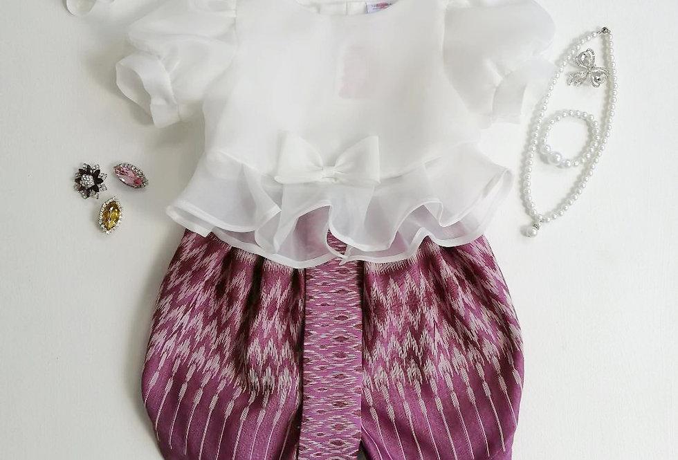 ชุดไทยเด็ก Metta- white/purple
