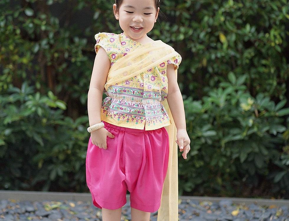 ชุดไทยเด็กหญิง SK2103 - Yellow