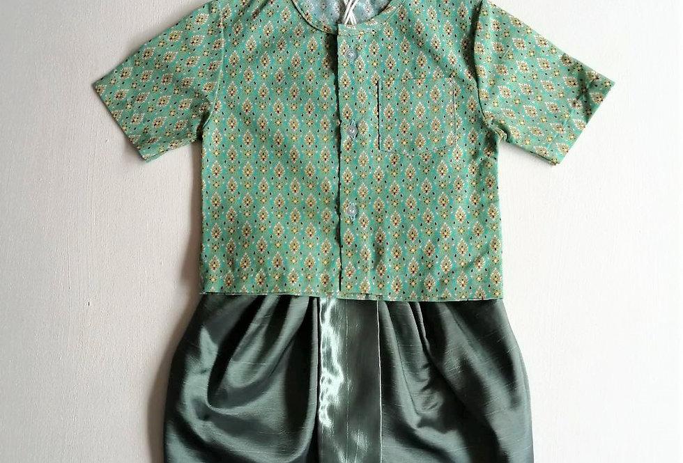 ชุดไทยเด็กชาย SET12-Green