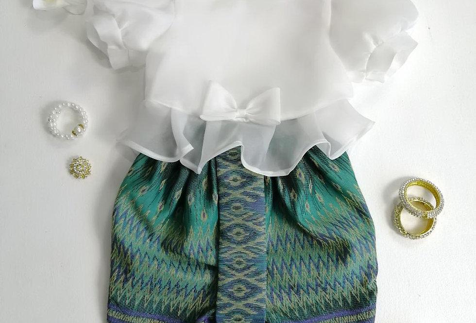 ชุดไทยเด็ก Metta- White/Green