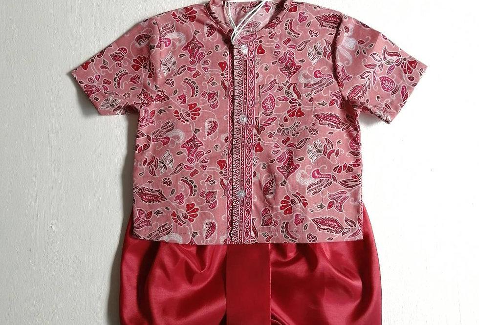 ชุดไทยเด็กชาย SET3- Orange Red