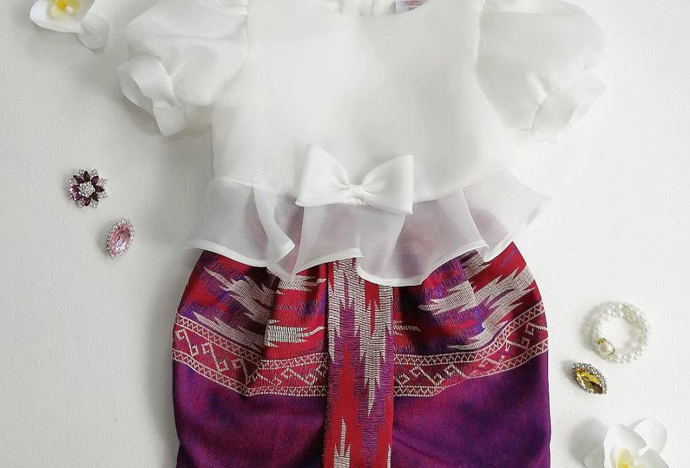 ชุดไทยเด็ก Metta- white/pattern2
