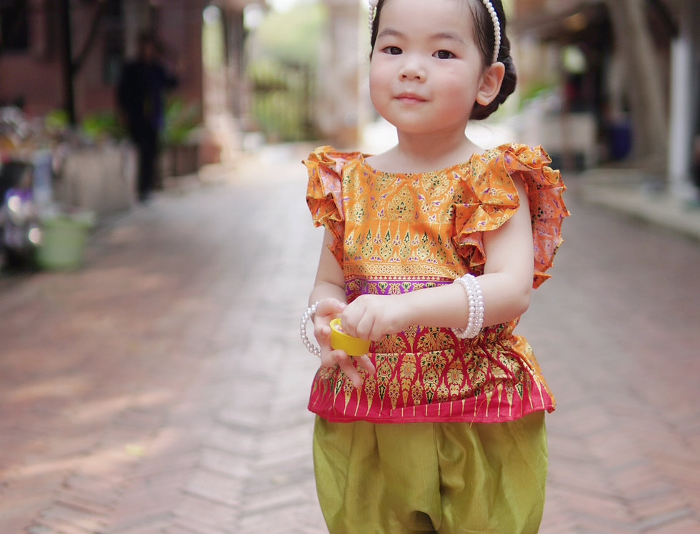ชุดไทยเด็ก J3 Malai - Orange