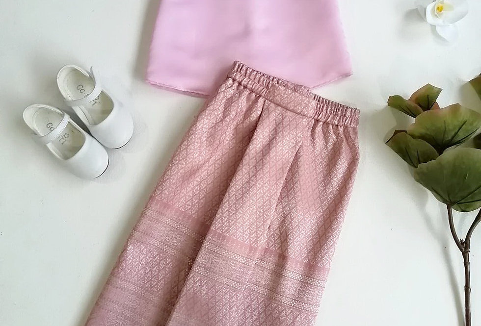 ชุดไทยเด็ก YenYen-pink/pale pink