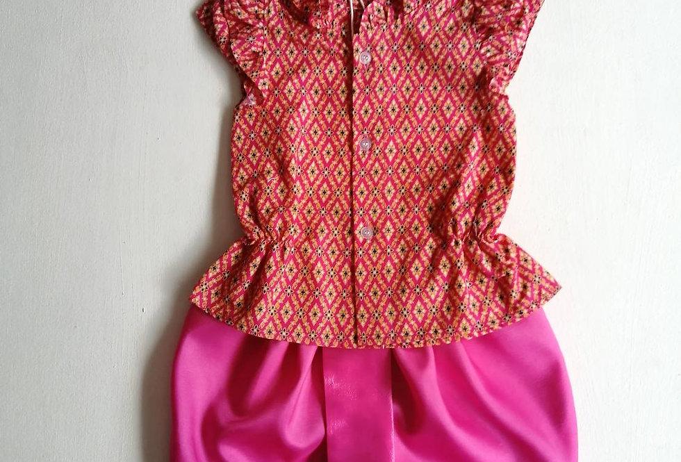 ชุดไทยเด็กหญิง SET14 -Dark pink