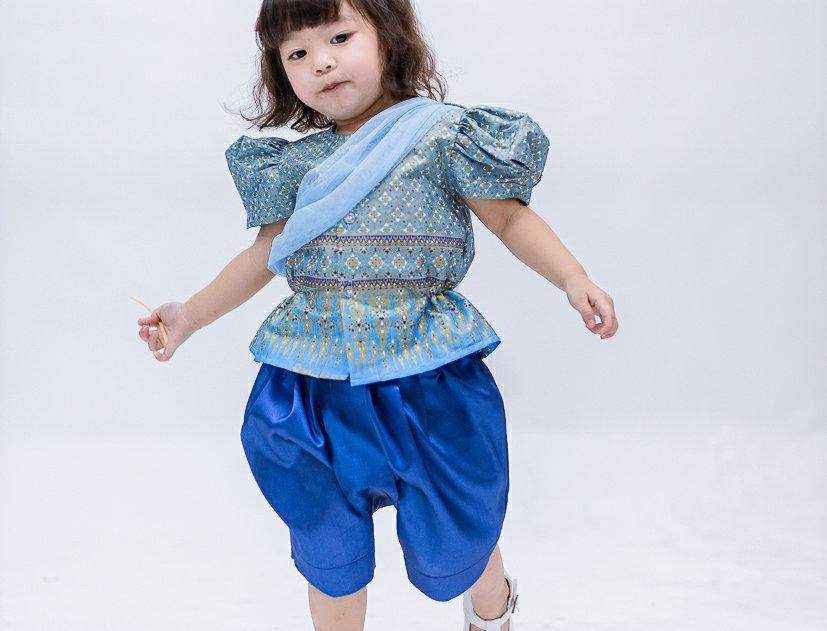 ชุดไทยเด็กหญิง SK2101 -  blue