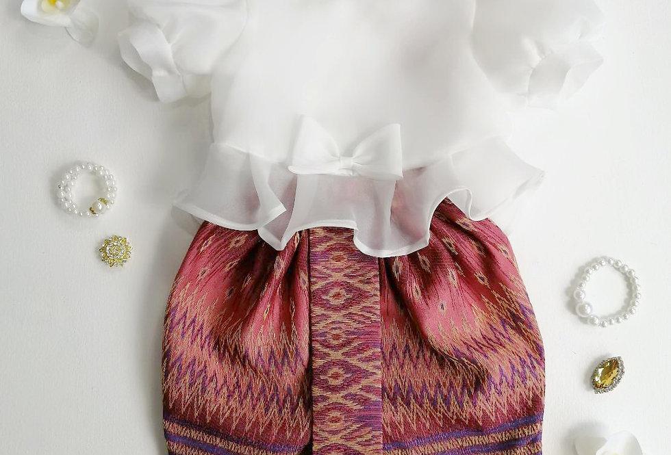 ชุดไทยเด็ก Metta- White/Dark Pink