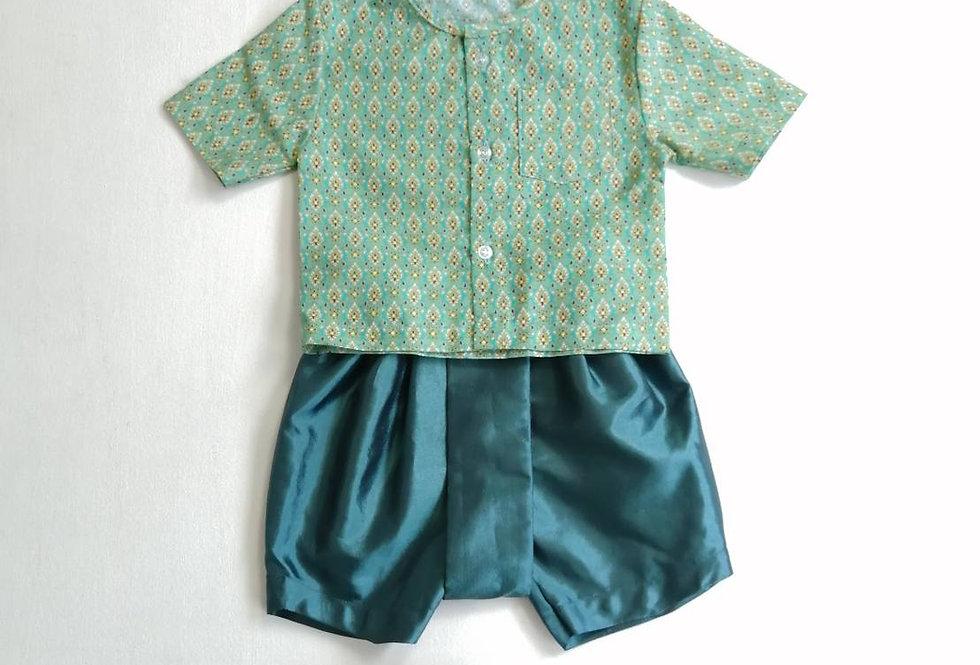 ชุดไทยเด็กชาย SK1- green