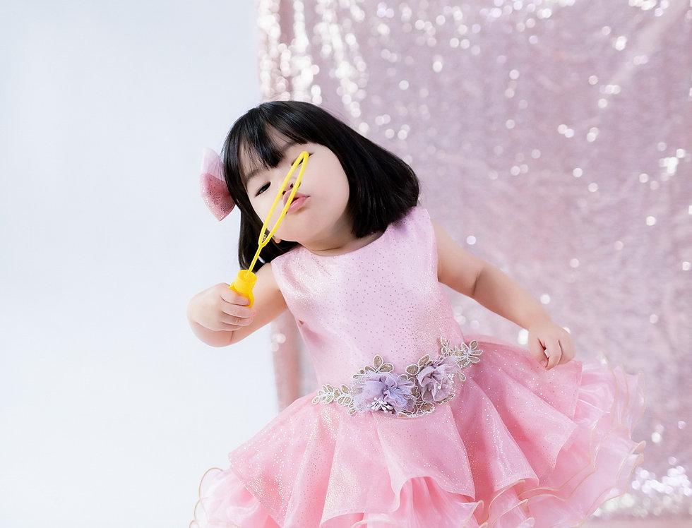 ชุดราตรีเด็ก สีชมพู H11 Pink