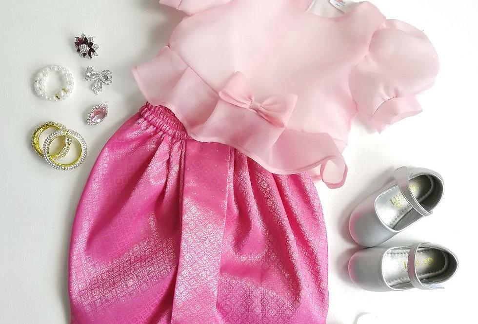 ชุดไทยเด็ก Metta- Pink/Hot Pink
