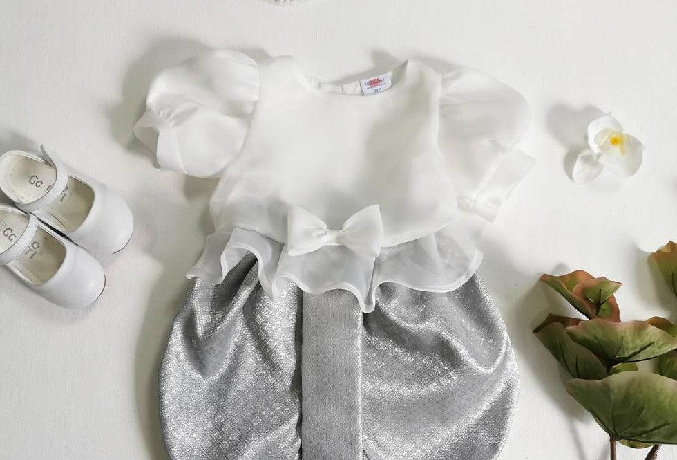 ชุดไทยเด็ก Metta-white/silver