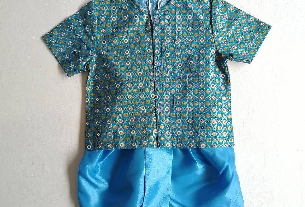 ชุดไทยเด็กชาย SET9-blue