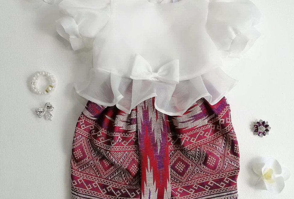 ชุดไทยเด็ก Metta- white/pattern1