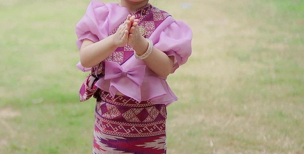 ชุดไทยเด็ก set Metta-lilac/Sarong-purple