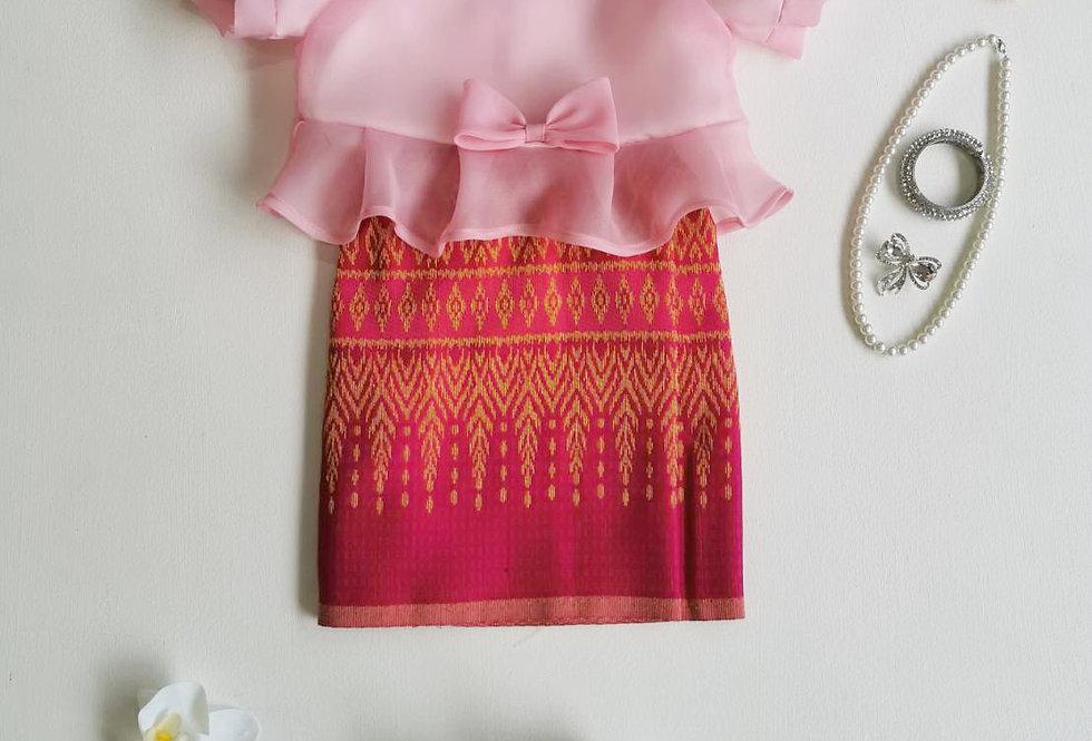 ชุดผ้าถุงเด็ก Metta-Pink/Fuchsia