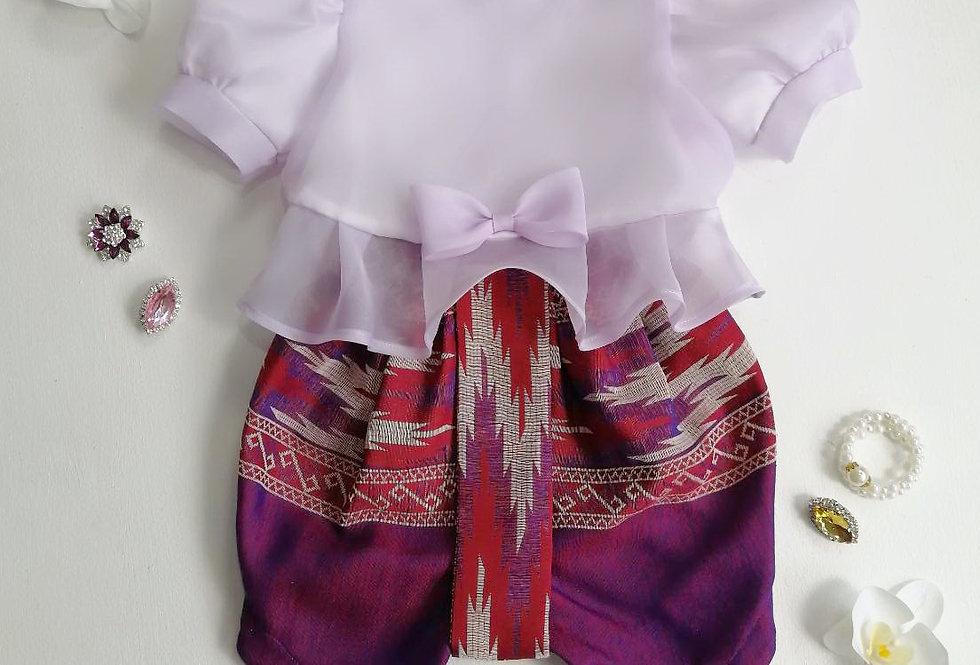 ชุดไทยเด็ก Metta- lilac/pattern2