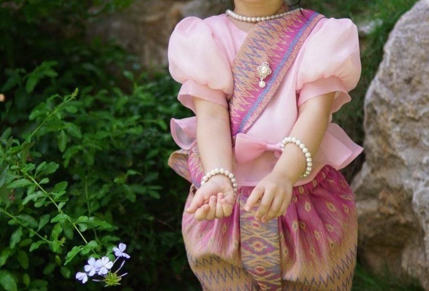 ชุดไทยเด็ก set Metta-pink/pink