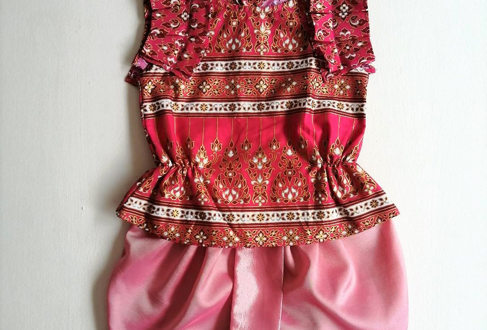 ชุดไทยเด็กหญิง SET16 -Dark pink