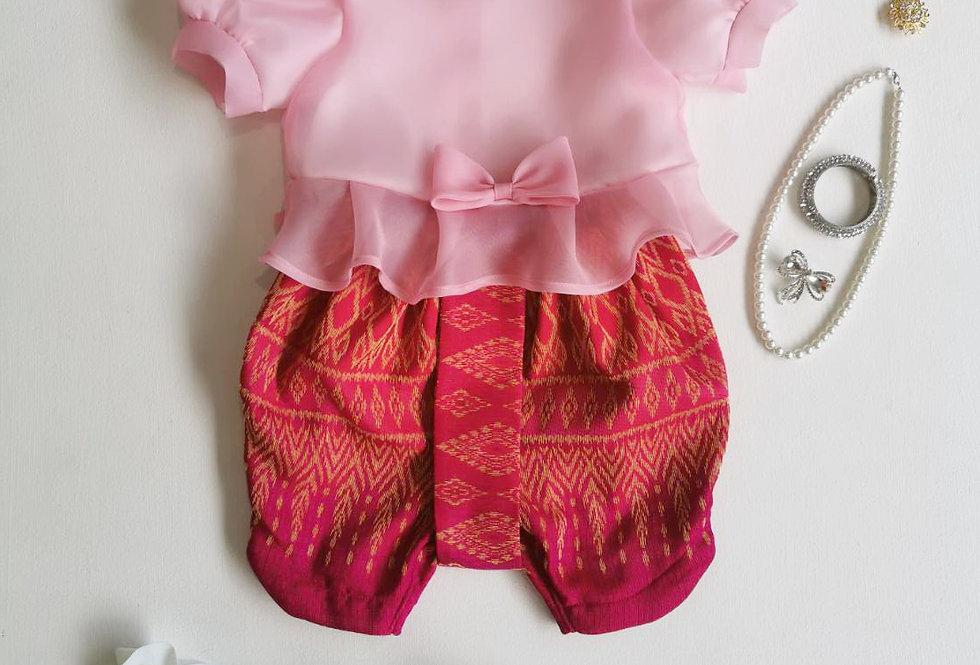 ชุดไทยเด็ก Metta- Pink/Fuchsia