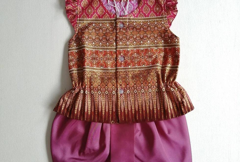 ชุดไทยเด็กหญิง SET17 - Purple