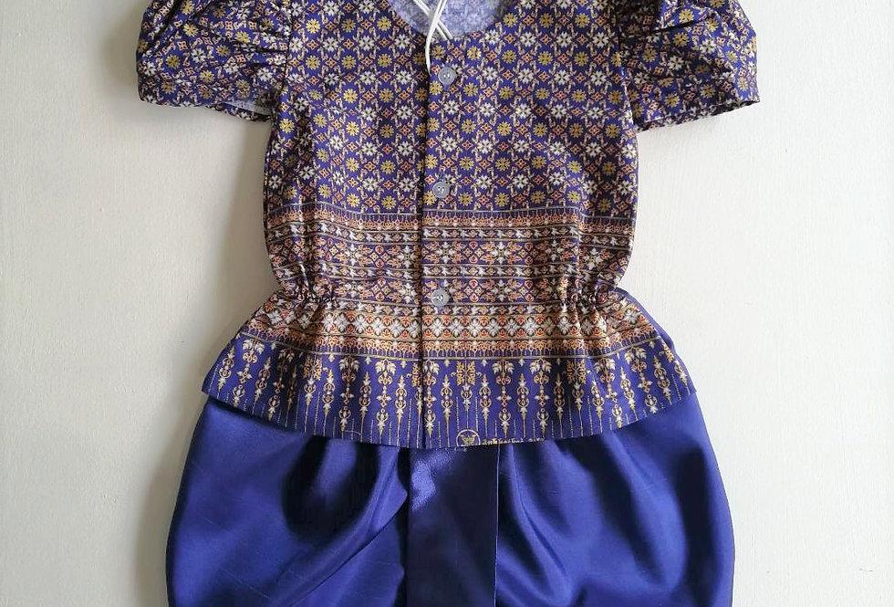 ชุดไทยเด็กหญิง SET10 - Dark Blue